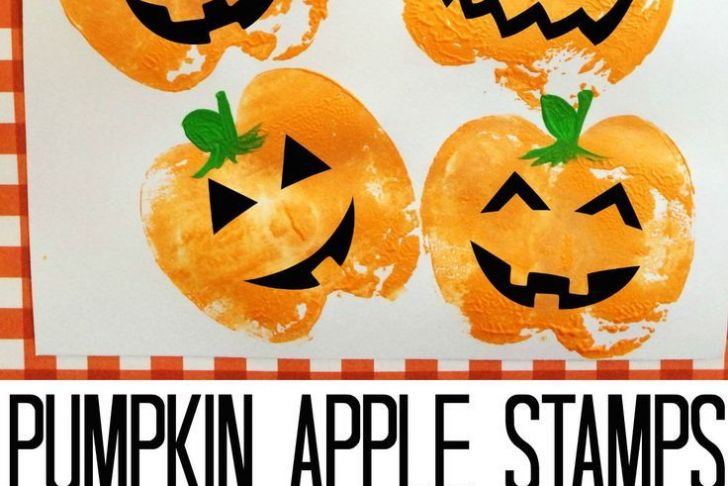 Halloween Bastelideen Schön Pumpkin Apple Stamps