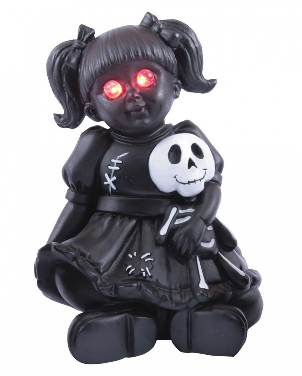 spooky doll mit roten led augen als gothic hallo