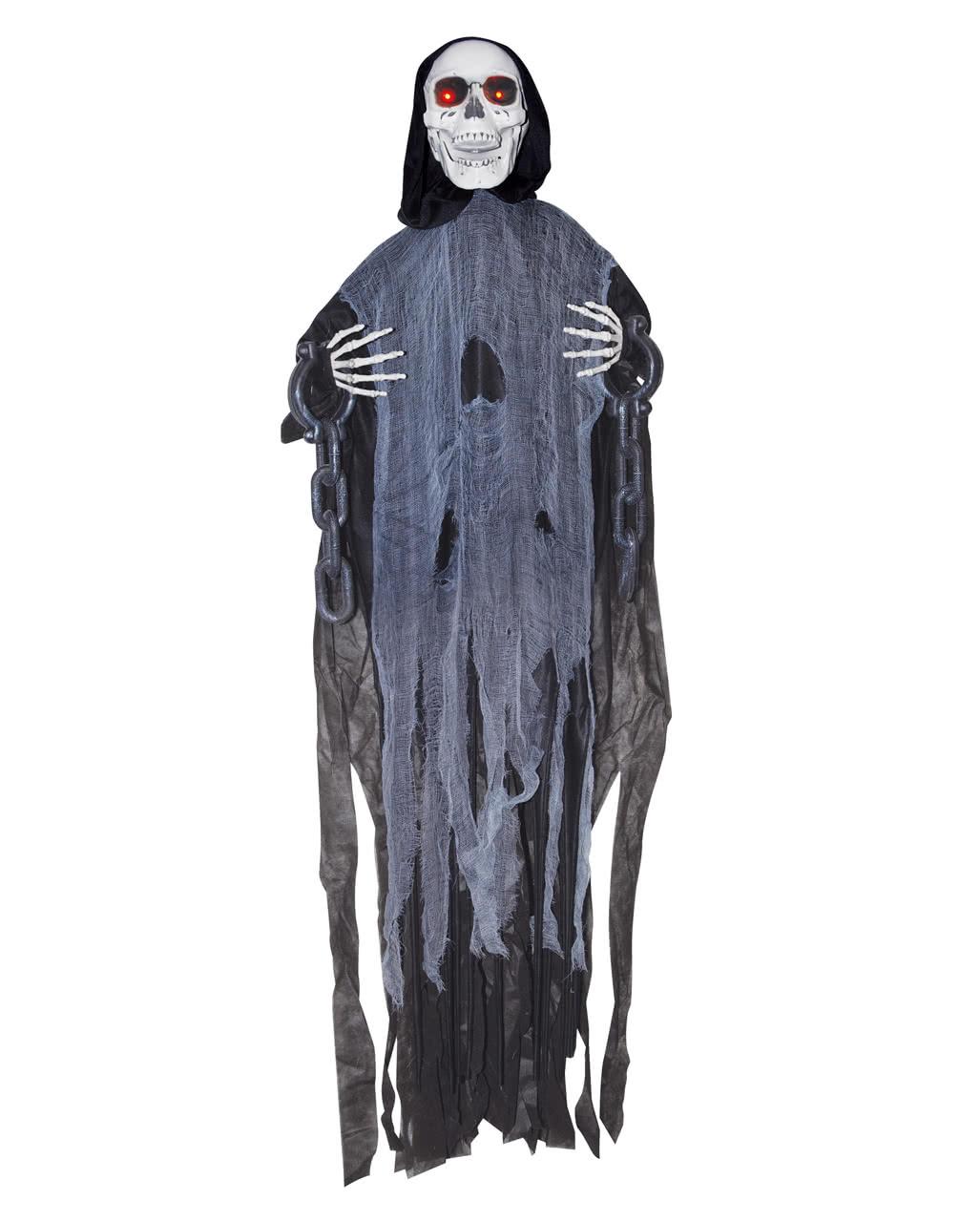 schwarzes geister skelett in ketten halloween animatronic halloween deko
