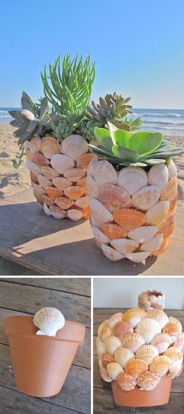 basteln für erwachsene mischeln blumentöpfe dekorieren pflanzen meer sand maritime deko