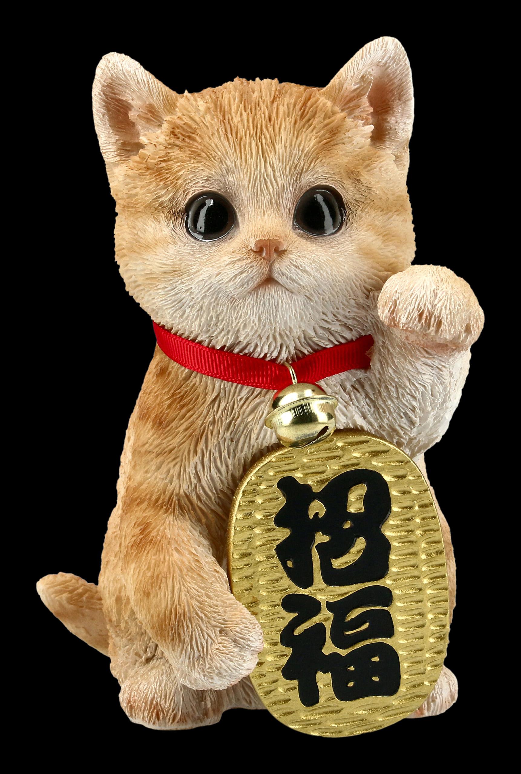 FS Getigerte Lucky Cat Figur Maneki Neko 2