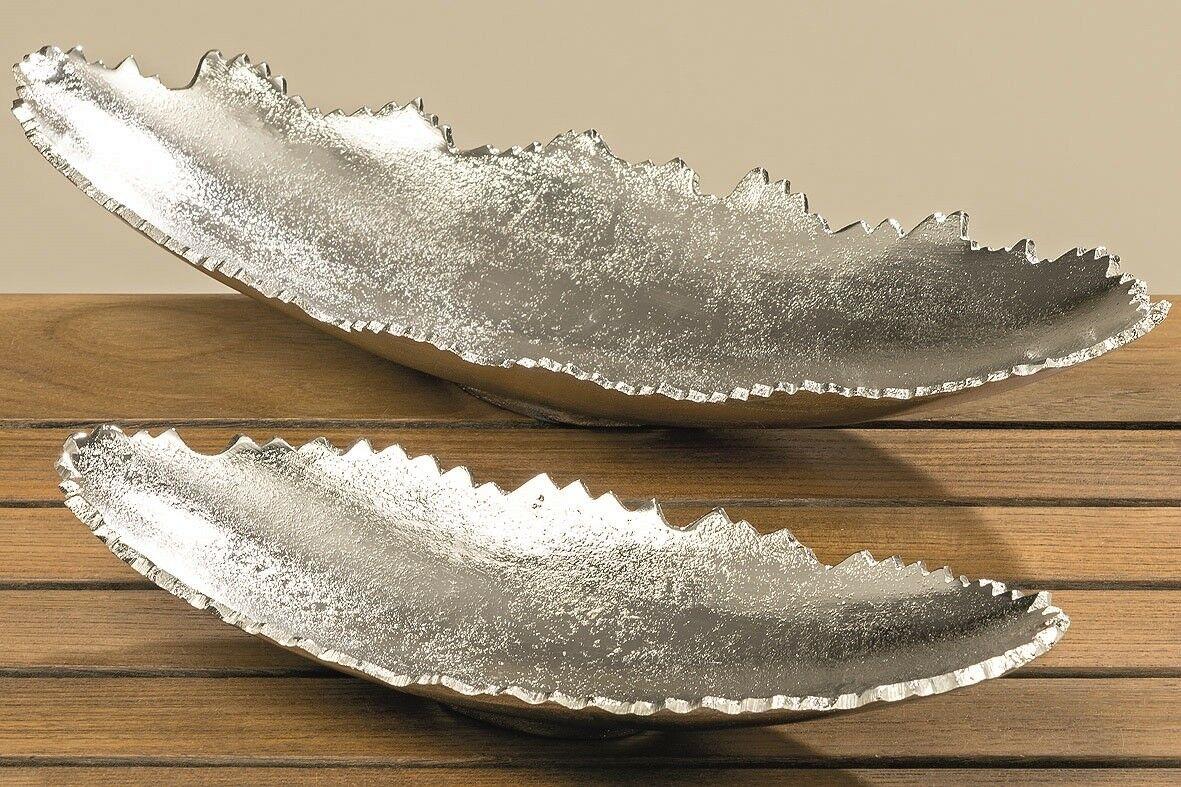 dekoschale lnglich schale oval silber metall massiv deko tischdeko 32 o 42 cm