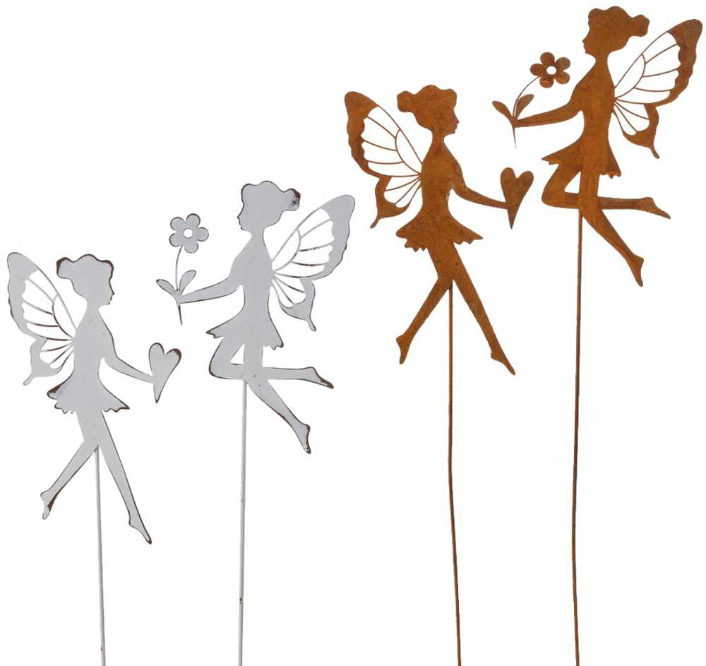 Blumenstecker Elfen Feen Metallstecker Gartendeko 2er Set 2 Farben