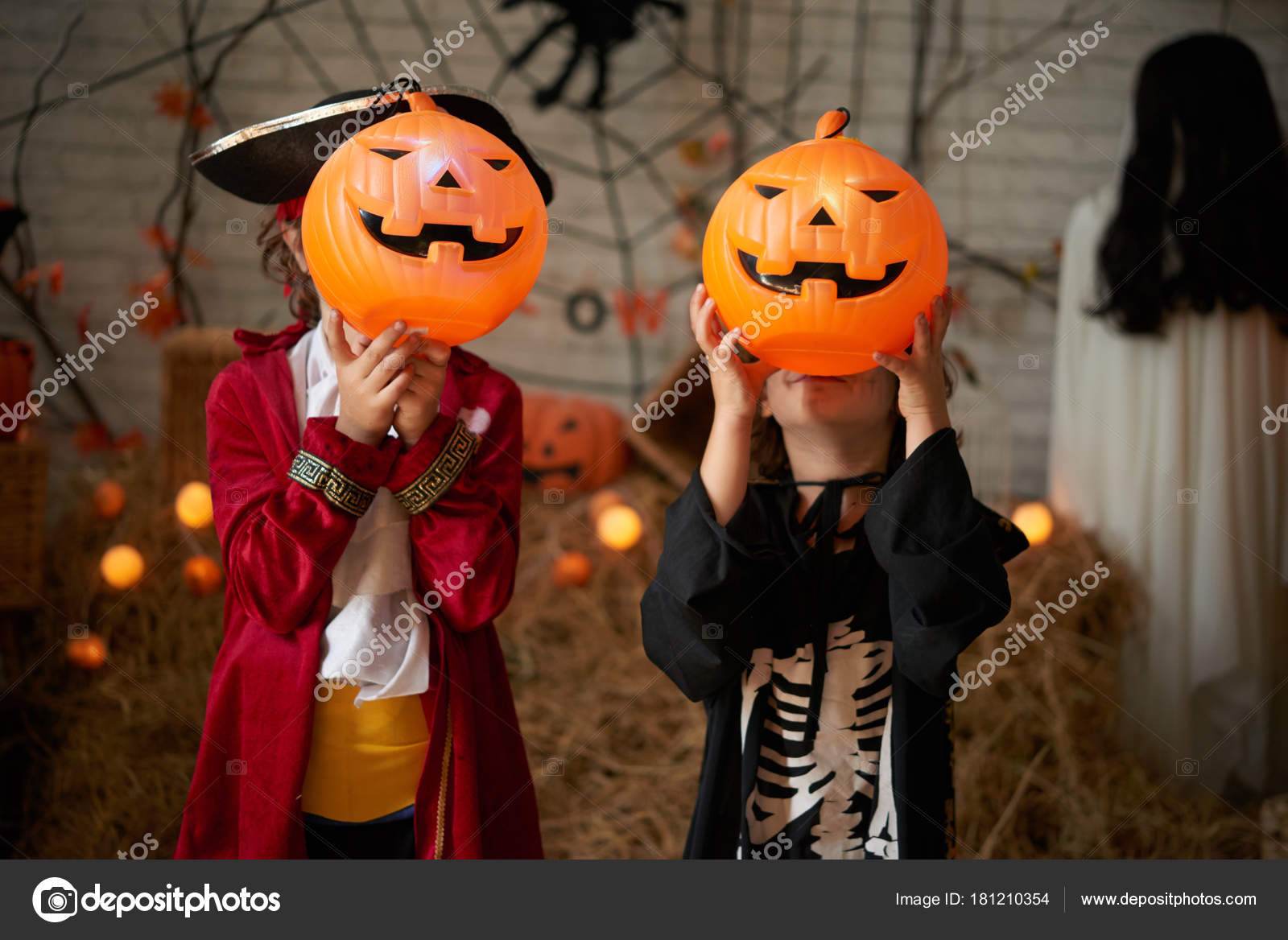 depositphotos stock photo children costumes showing scary pumpkin