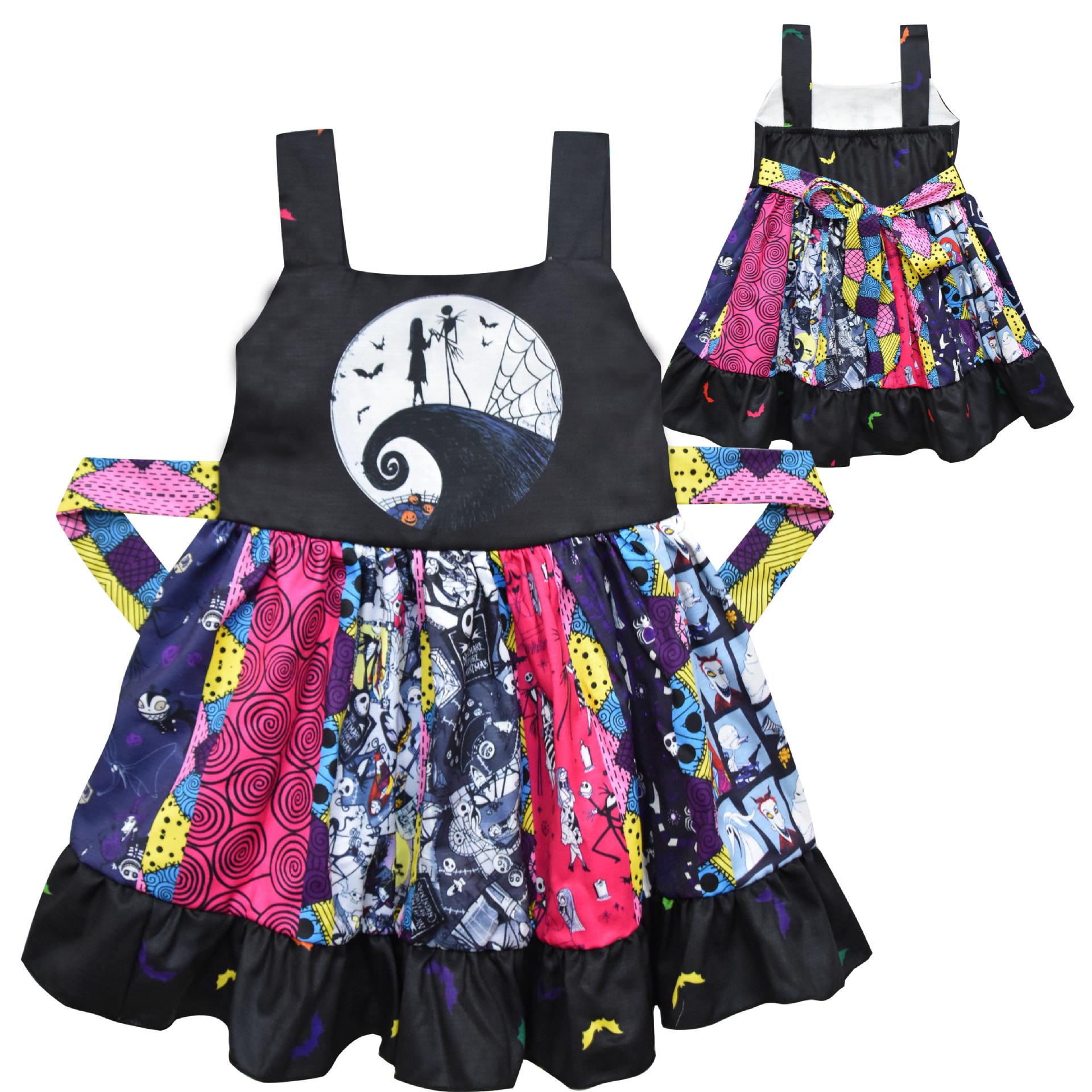Girls Halloween Cosplay Costume Girls Skeleton 3D Printed Black Halter Sleeveless Dress Kids party surprise dress