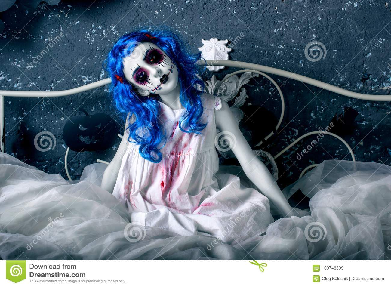 little blue hair girl bloody dress scary halloween makeup sitting bed little blue hair girl bloody dress