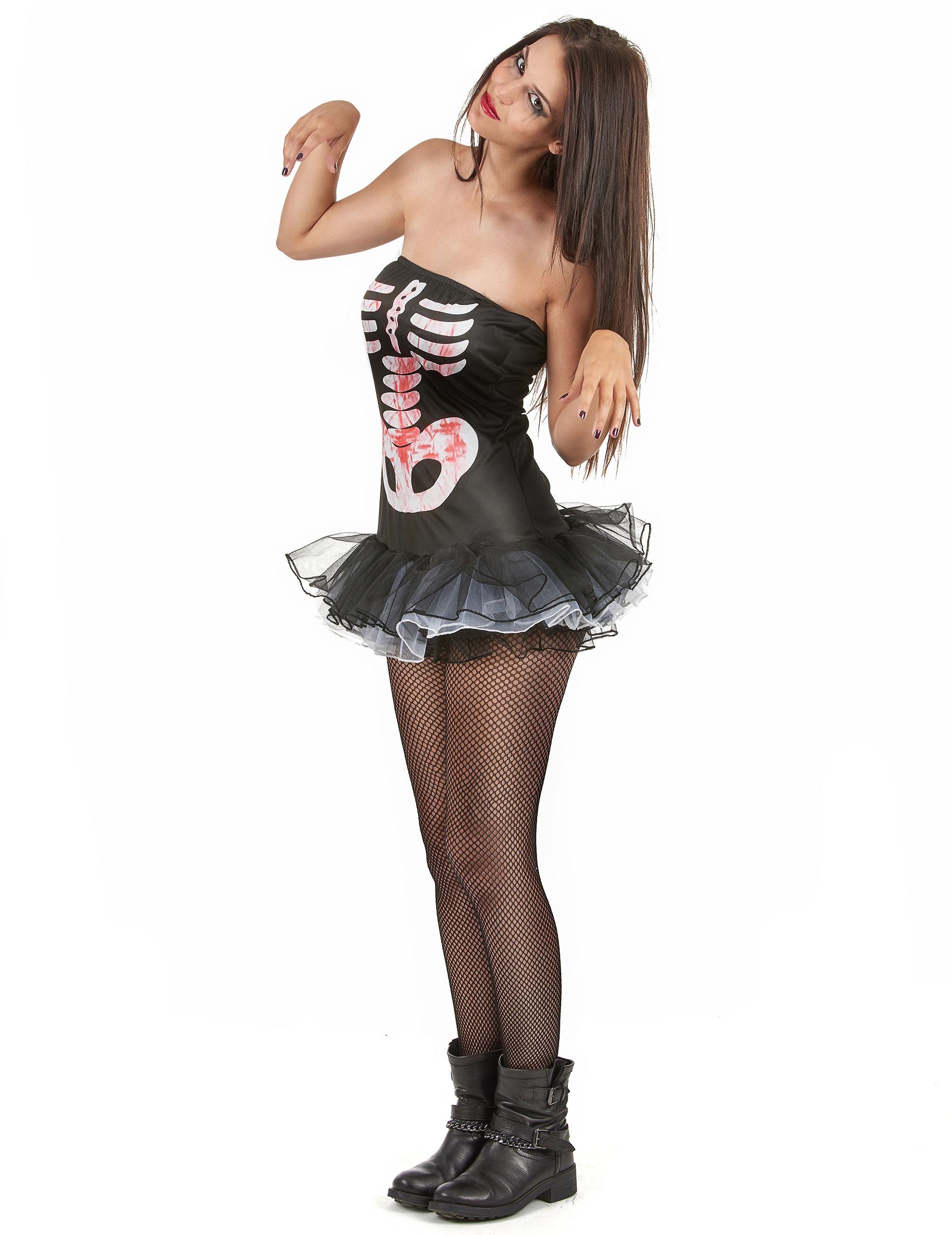 p skelett kostum halloween fur damen