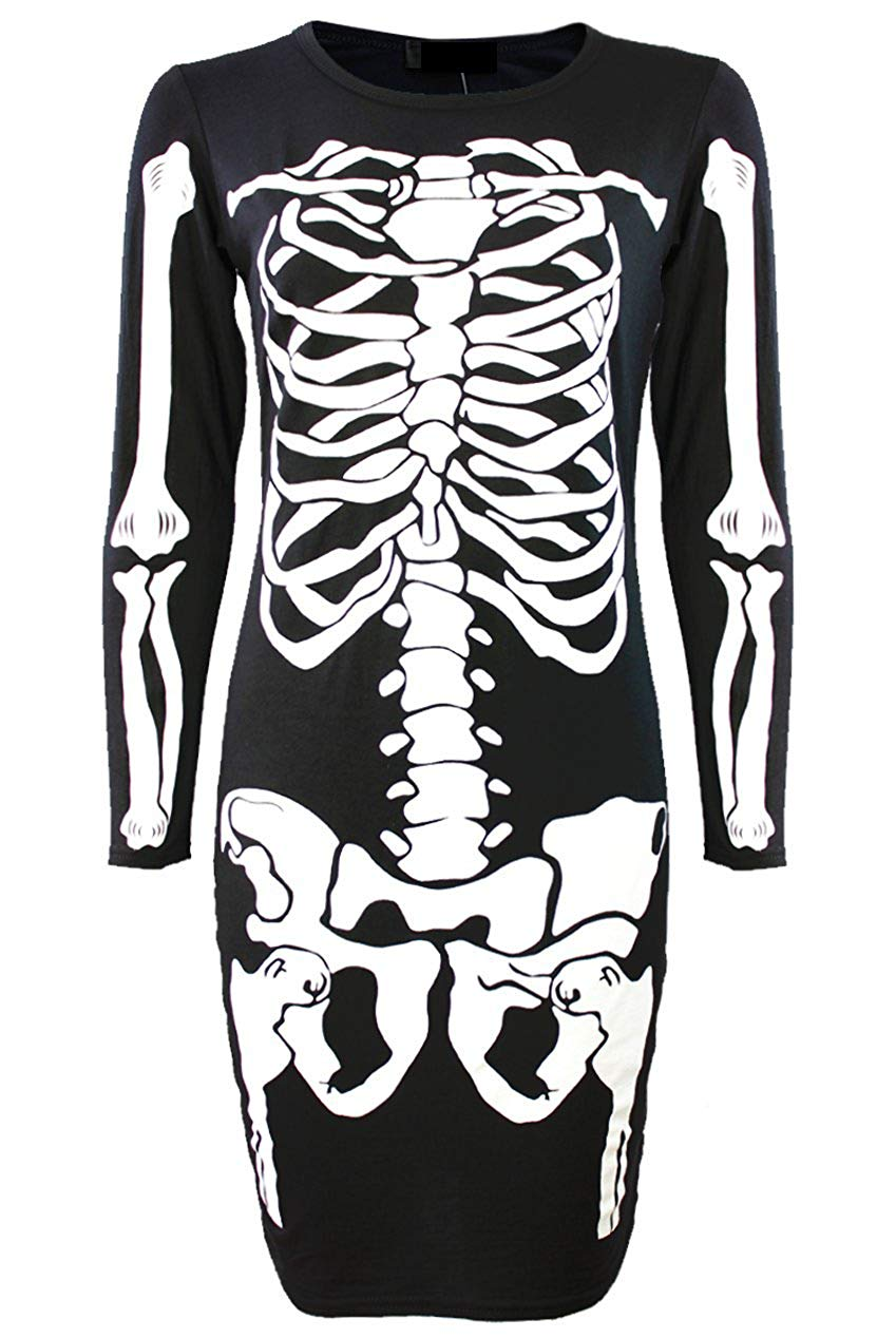 halloween skeleton bodycon dress