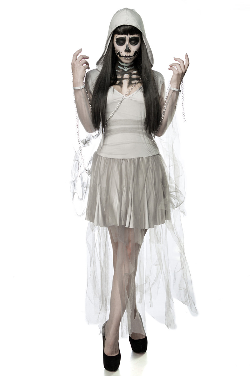 damen horror skelett geist kostuem verkleidung aus kleid kapuze kette in grau onesize xs m