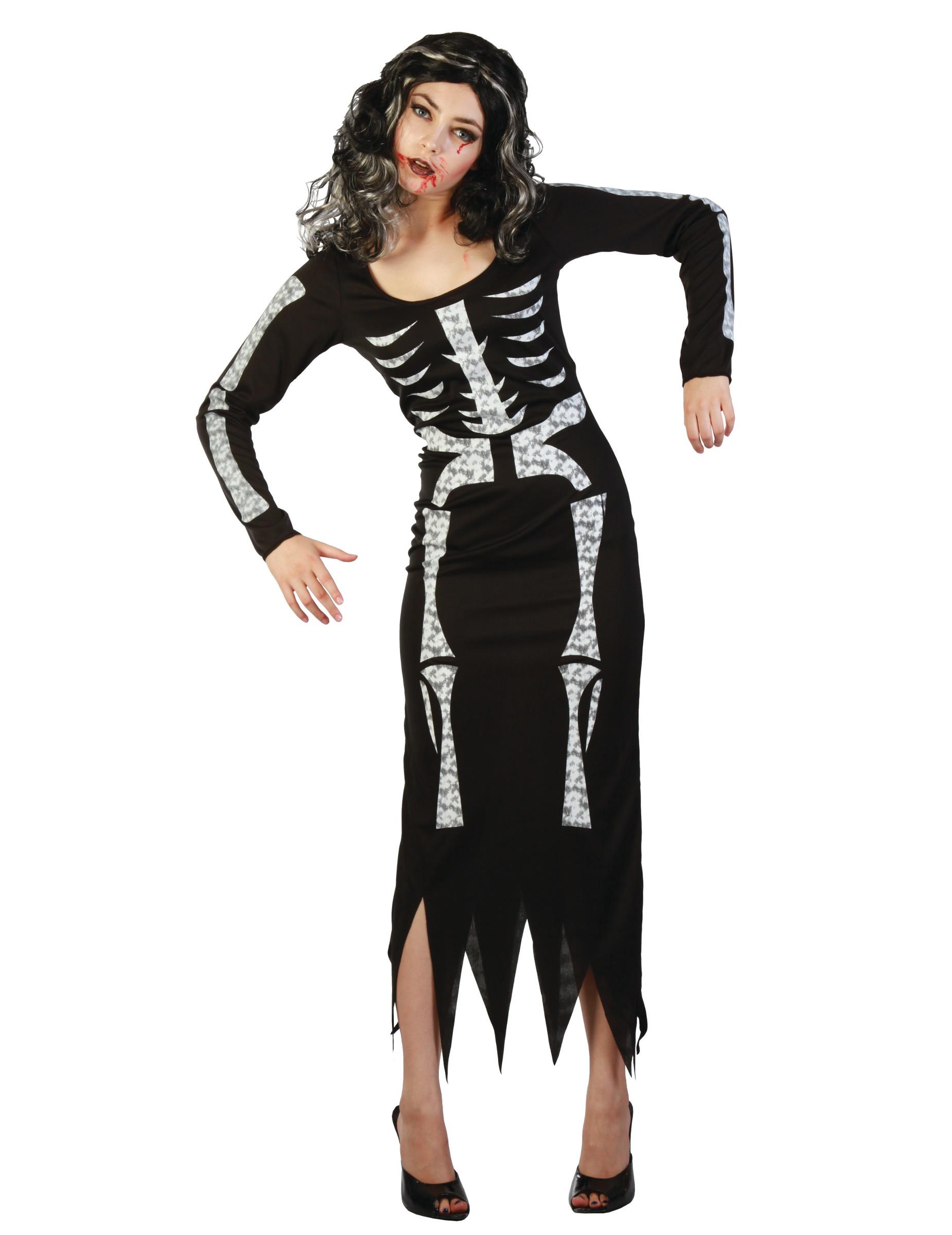Halloween Kostüm Damen Skelett Genial Long Black Skeleton Dress Costume Women Vegaoo