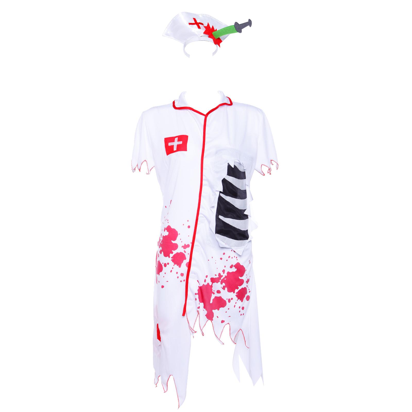 La s Zombie Nurse Horror Fancy Dress Halloween Costume Party Dress Up Outfit