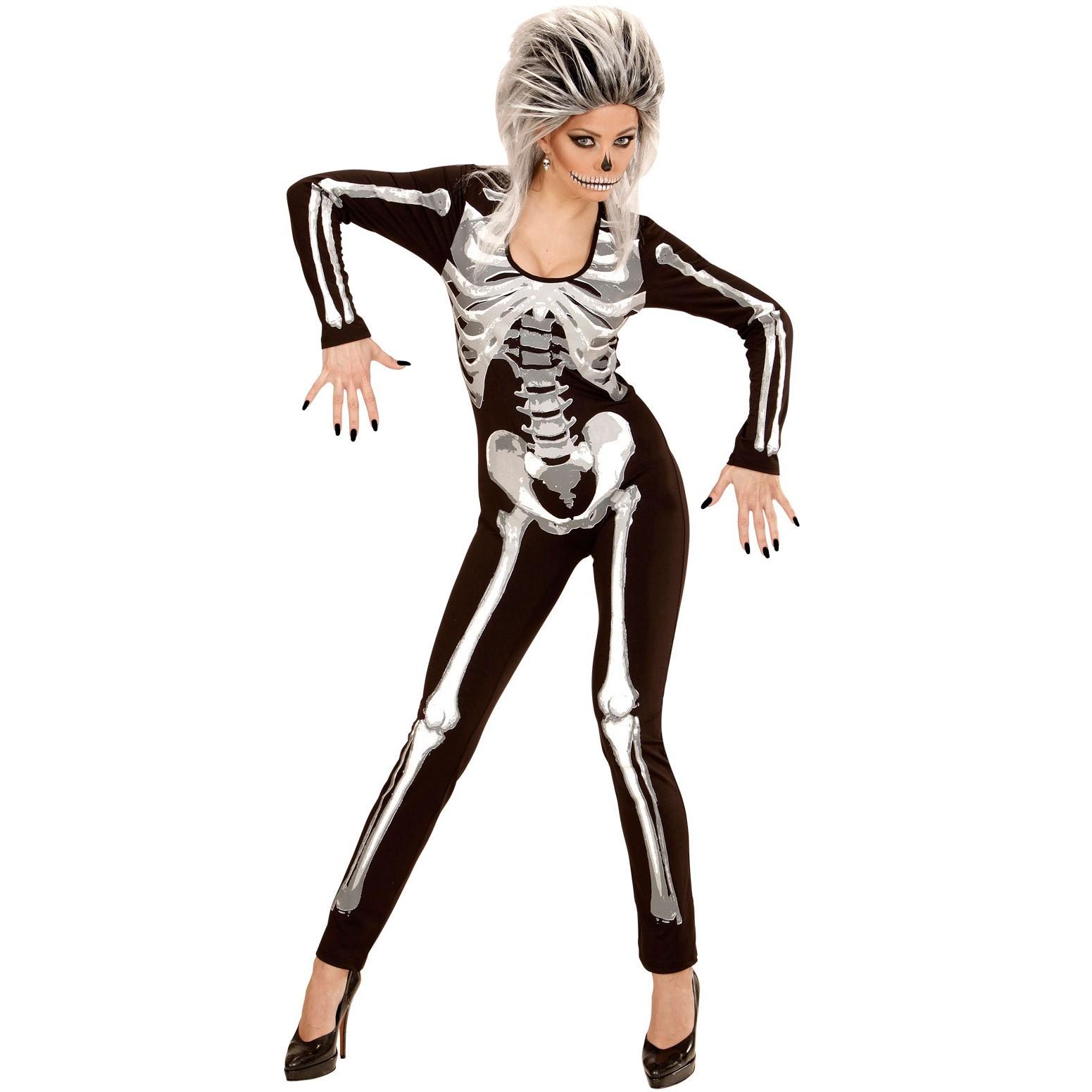 skelett girl overall kostuem