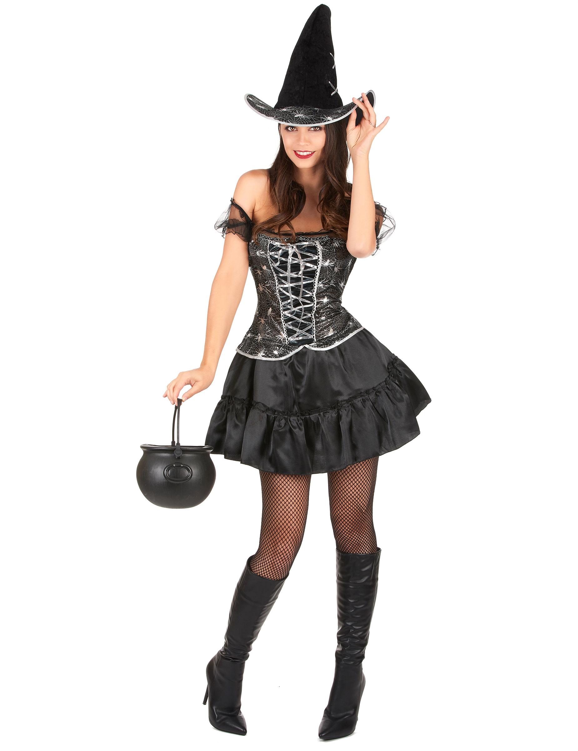 p hexe halloween kostuem schwarz silber