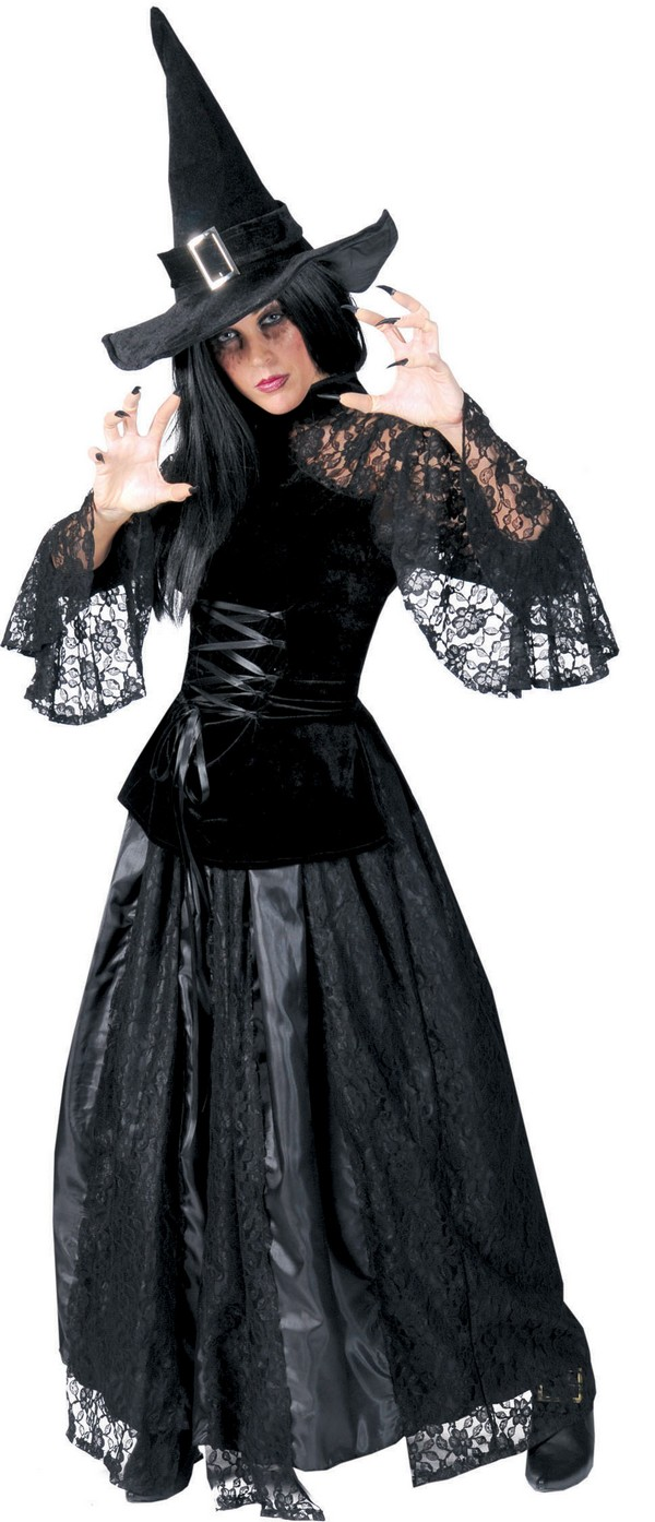 p halloween schwarzes und gezacktes hexe kostum fur damen
