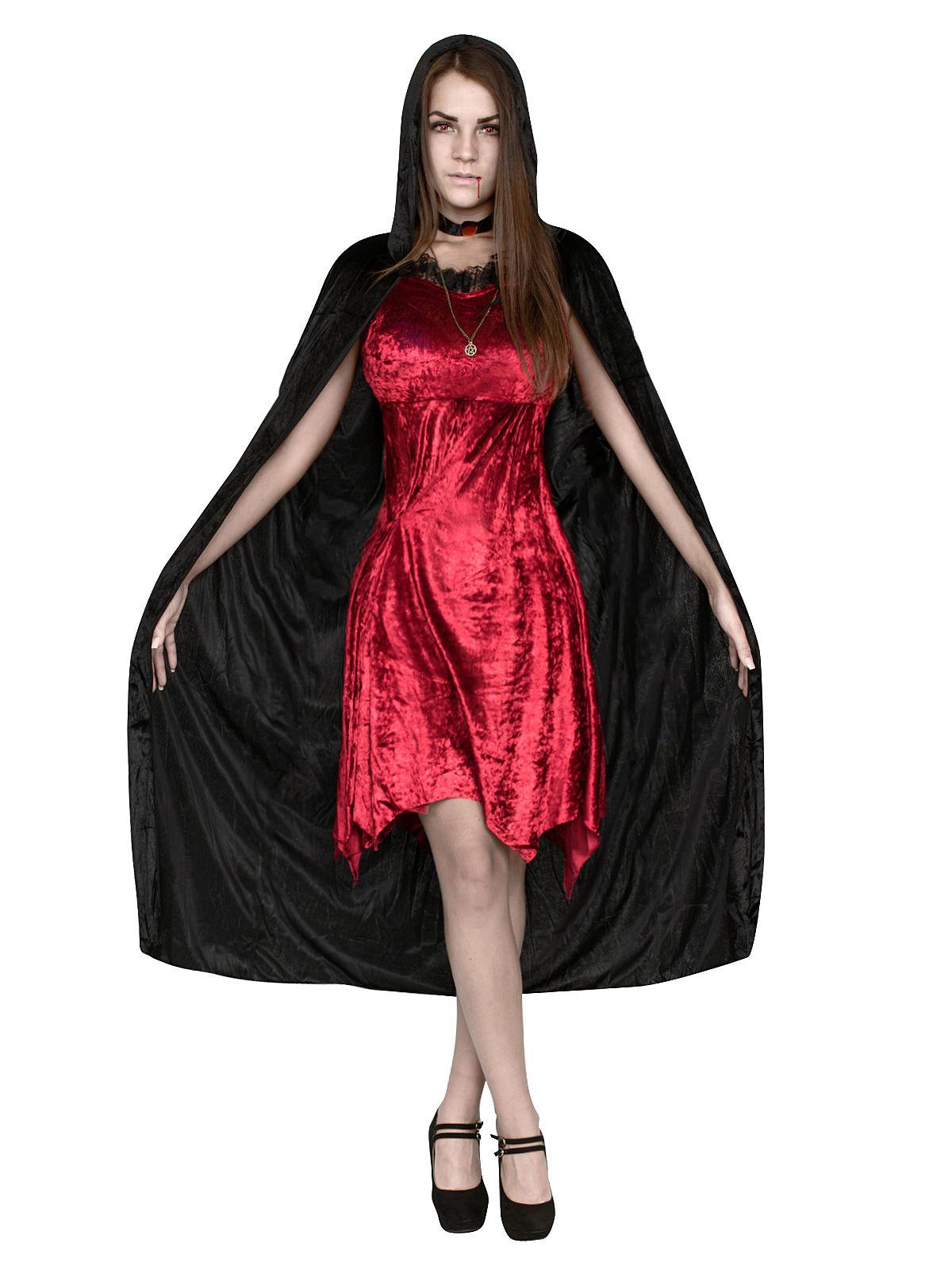 p duestere hexe halloween damenkostuem vampirin rot schwarz