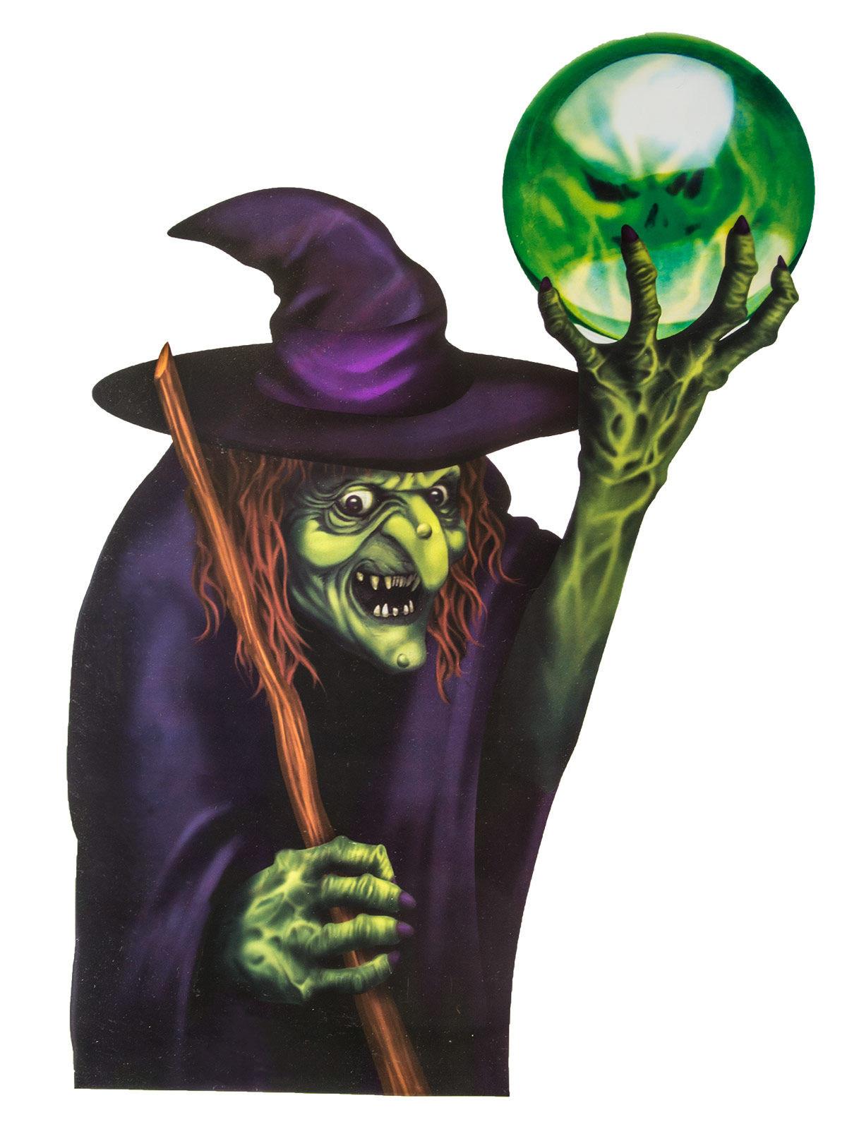 p boese hexe horror halloween fensterdeko lila gruen 60x43cm