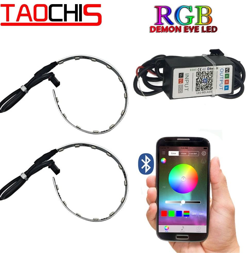 TAOCHIS 2Pcs Auto RGB headlight font b Projector b font Led Devil font b Eye b