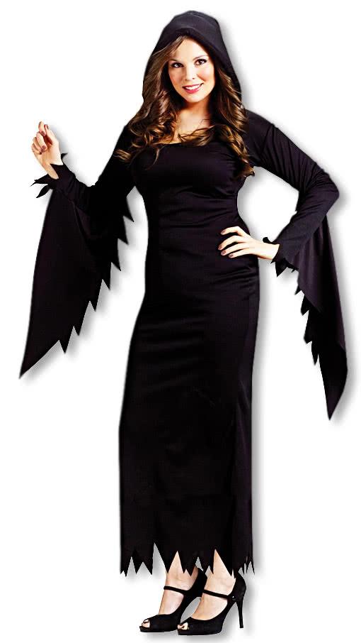 schwarzes kostuem kleid mit kapuze xxl