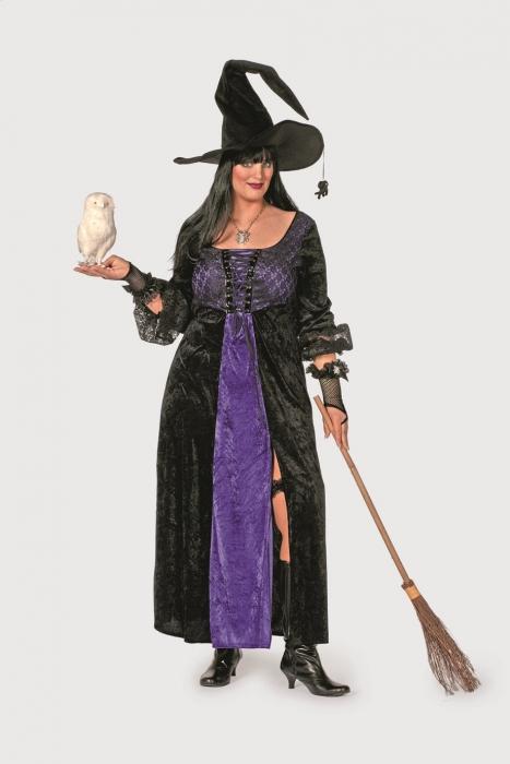 Uebergroessen Faschingskostuem Hexe flieder schwarz Witch grosse Groessen Damen 460