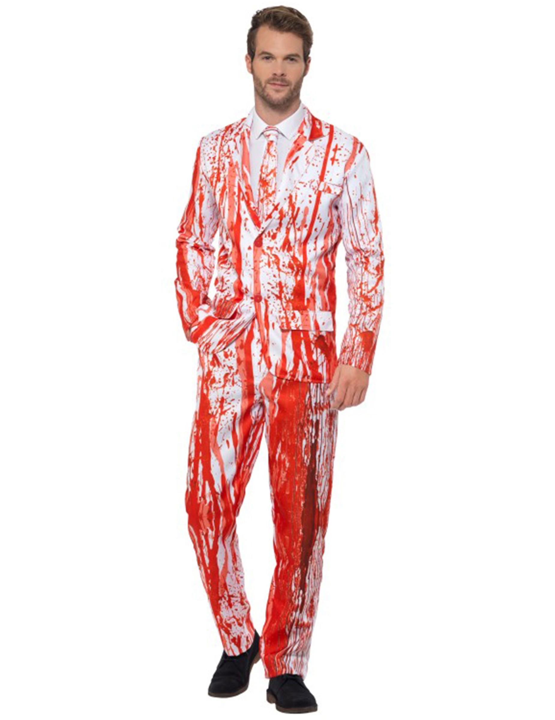 p blutiger anzug fuer herren halloween verkleidung weiss rot