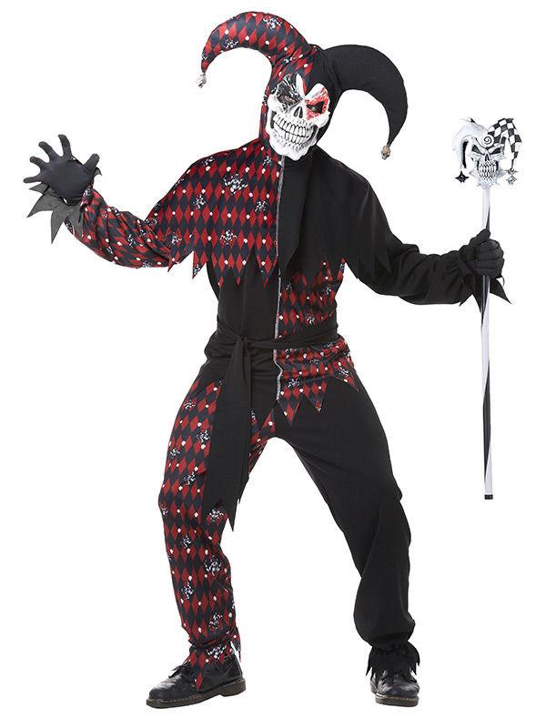p boeser clown harlekin halloween kostuem schwarz rot