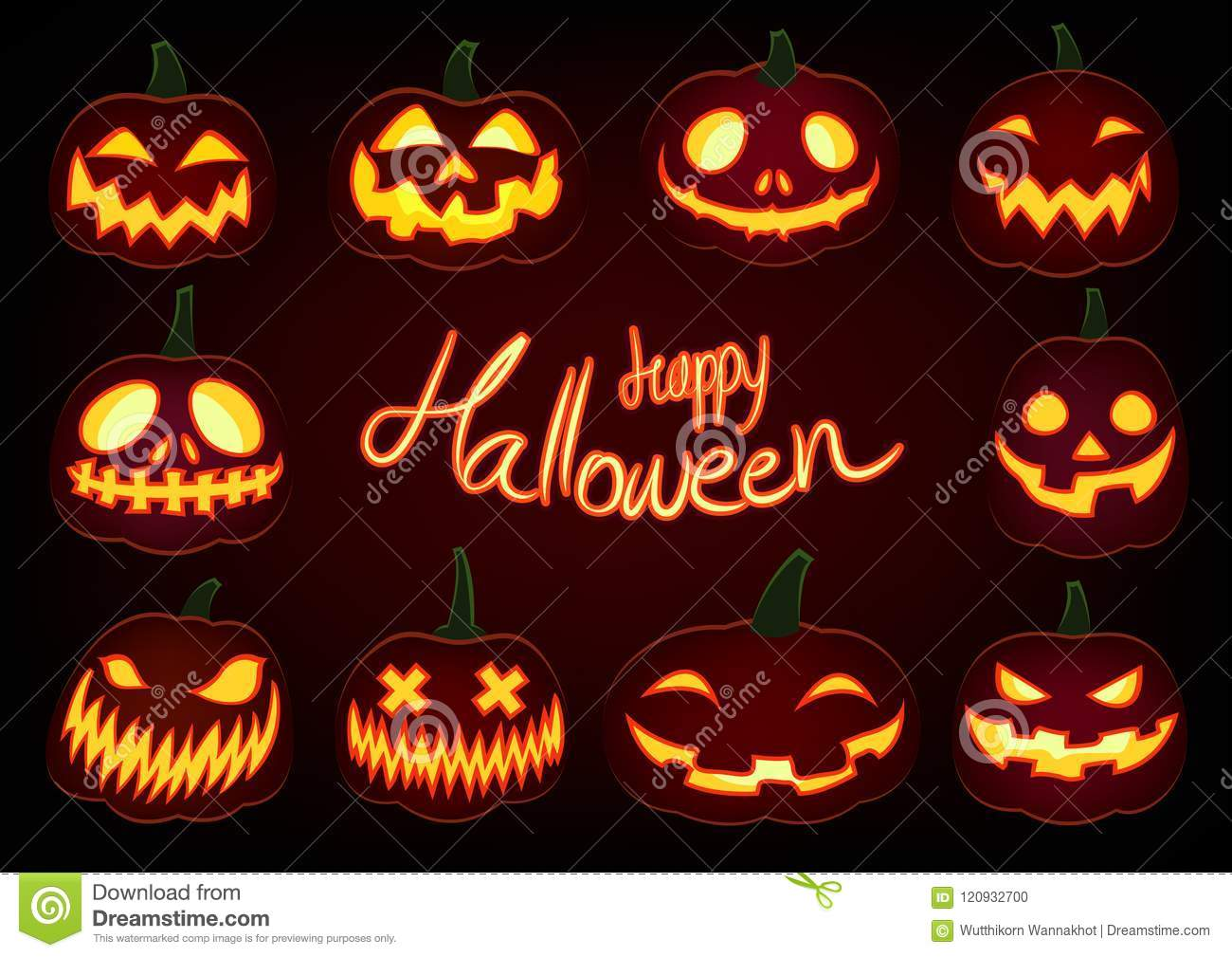 happy halloween pumpkin glow jack o lantern set dark background happy halloween pumpkin lantern glow jack o lantern set dark