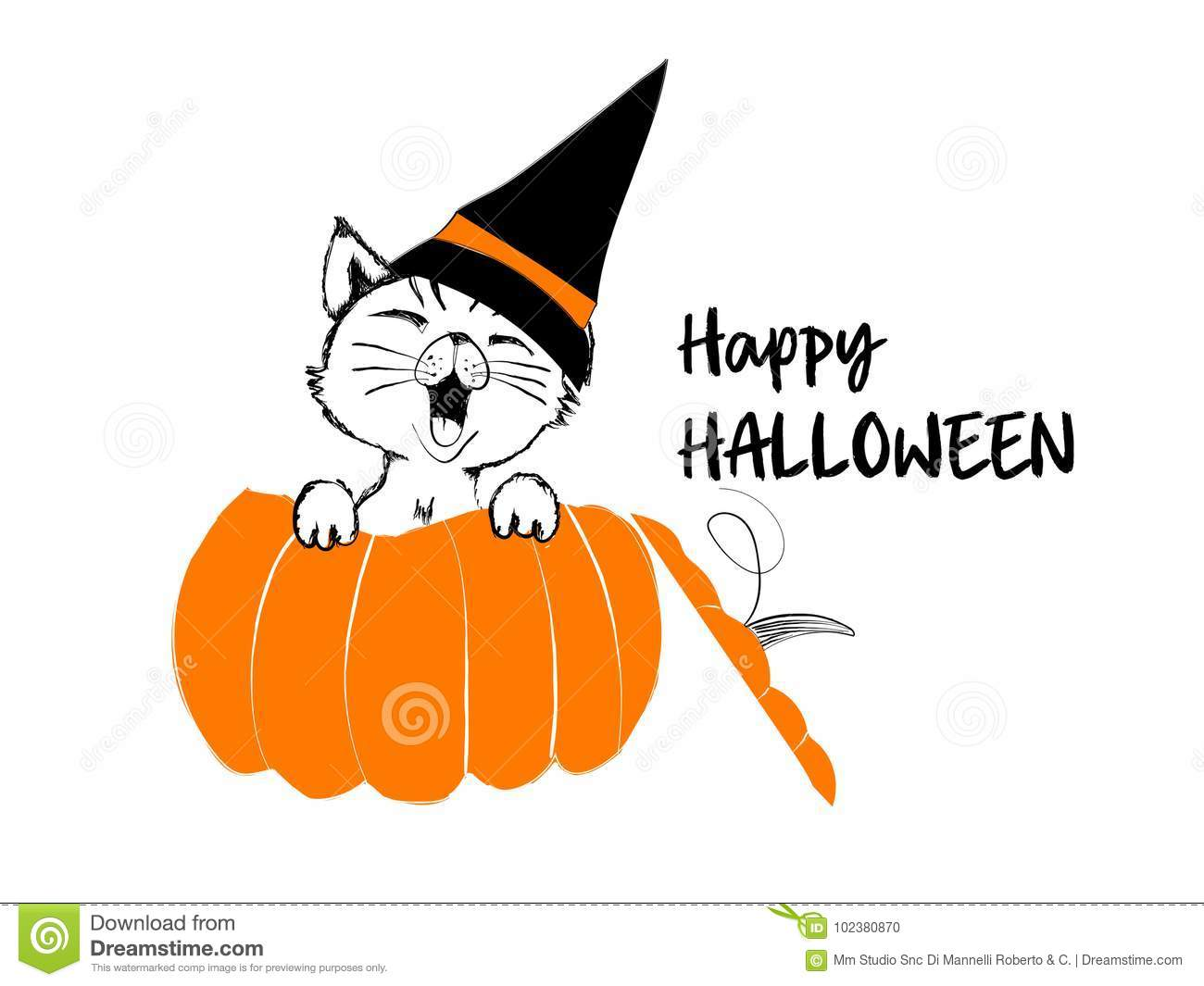 cute black cat orange pumpkin happy halloween illustration isolated white background