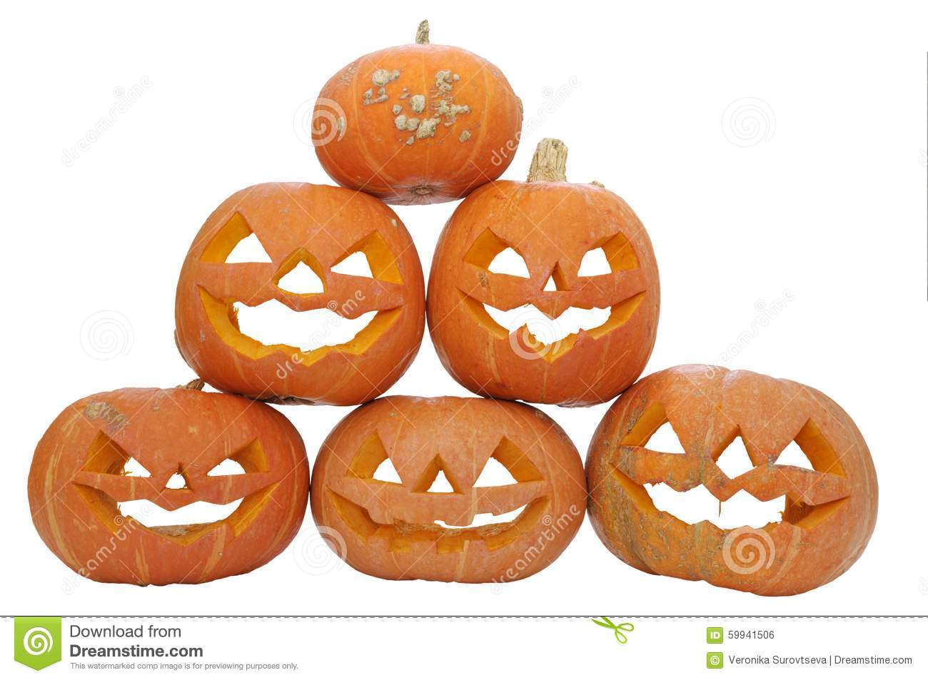 pumpkin pyramid group ripe red pumpkins lanterns masks isolated white background