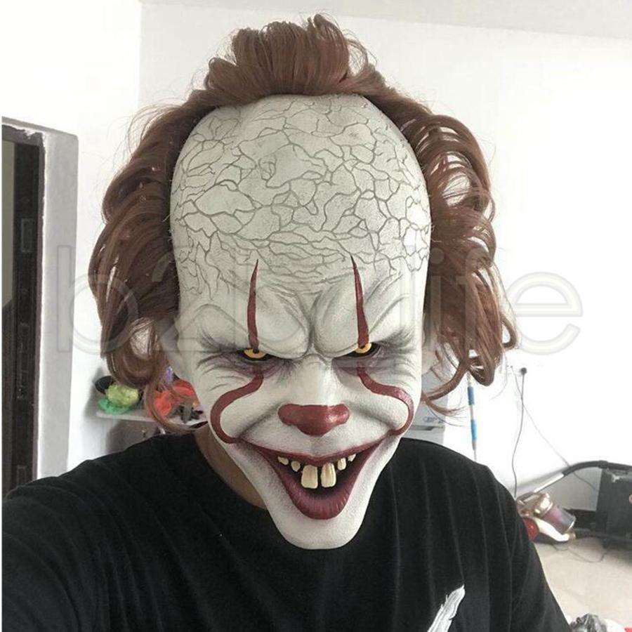 Halloween Masken Kaufen Elegant Großhandel Stephen Kings Joker Maske Silikon Vollgesichts Horror Clown Latex Maske Halloween Party Masken Horrible Cosplay Prop Spielzeug Tta1789