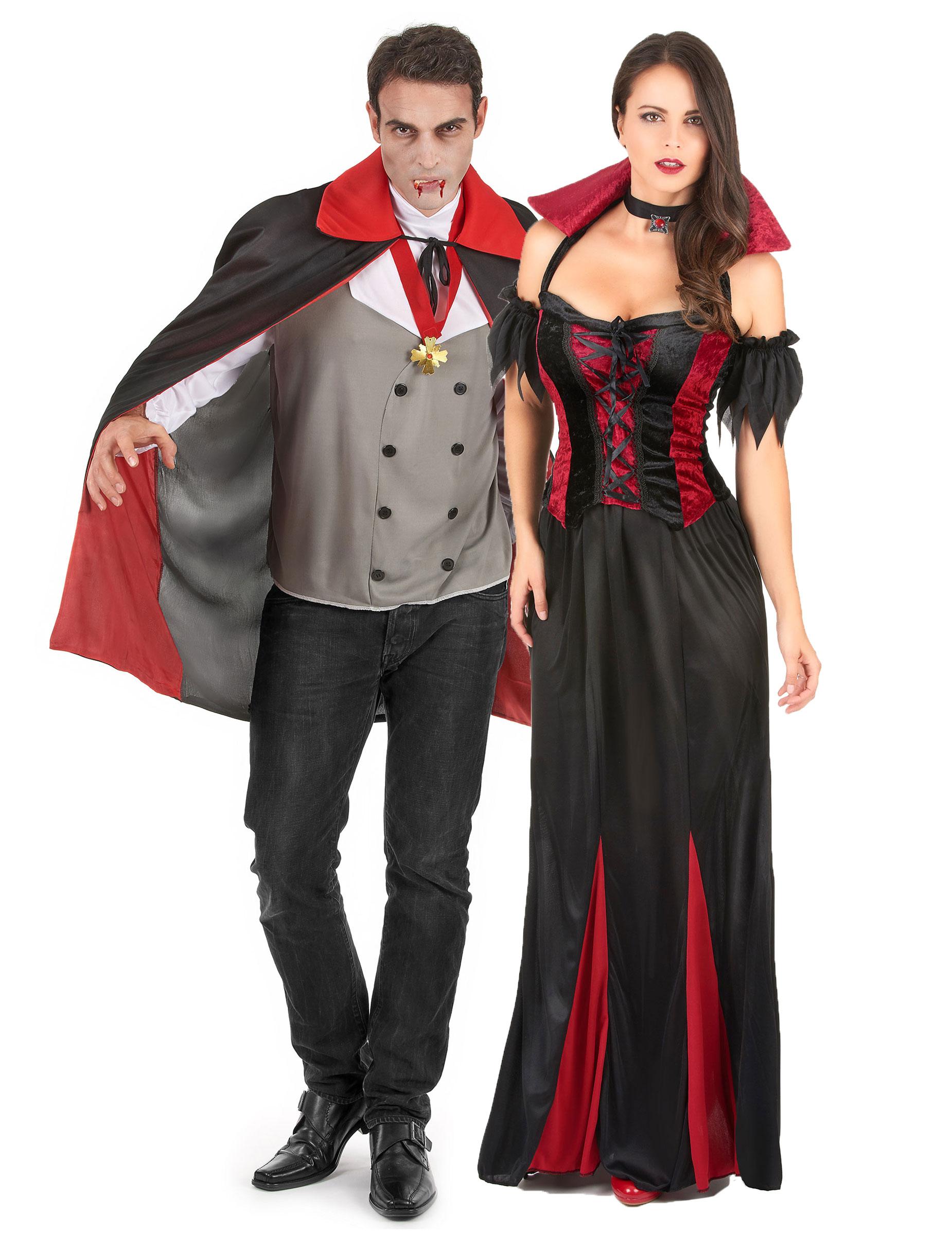 p vampir paar halloween kostuem fuer zwei erwachsene schwarz rot