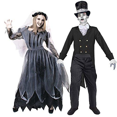 geister paar kostuem der super klasse fuer perfekte halloween zombie paare verkleidung oder fasching und karneval von ilovefancydressbeide kostueme sind erhaltbar in 5 verschiedenen groes