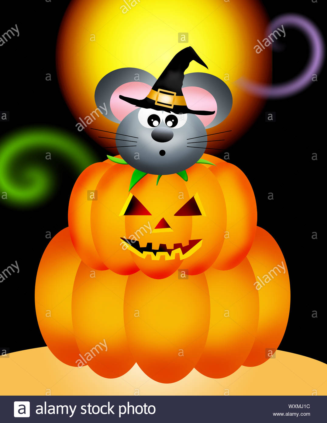 mouse in the pumpkin on halloween WXMJ1C