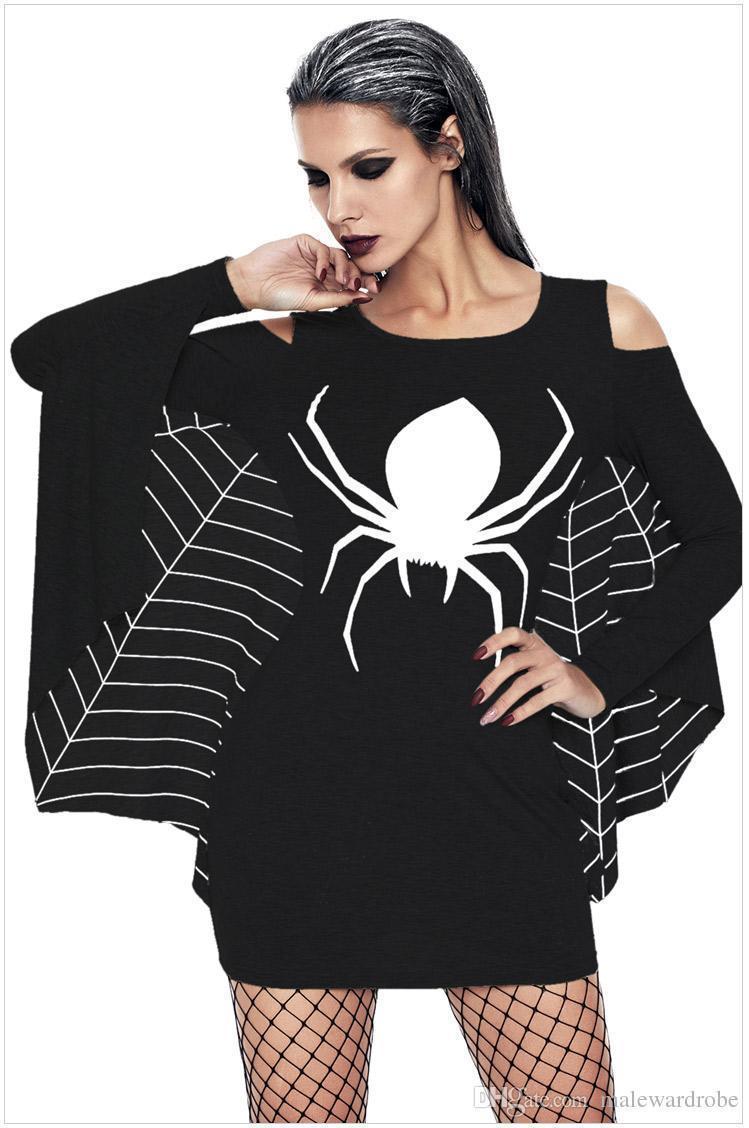 Halloween Schwarzes Kleid Schön Frauen Halloween Kleider Uniform Spinne Bühnenkleidung Schwarzes Kleid Y Mini Dressing Urlaub Kleidung