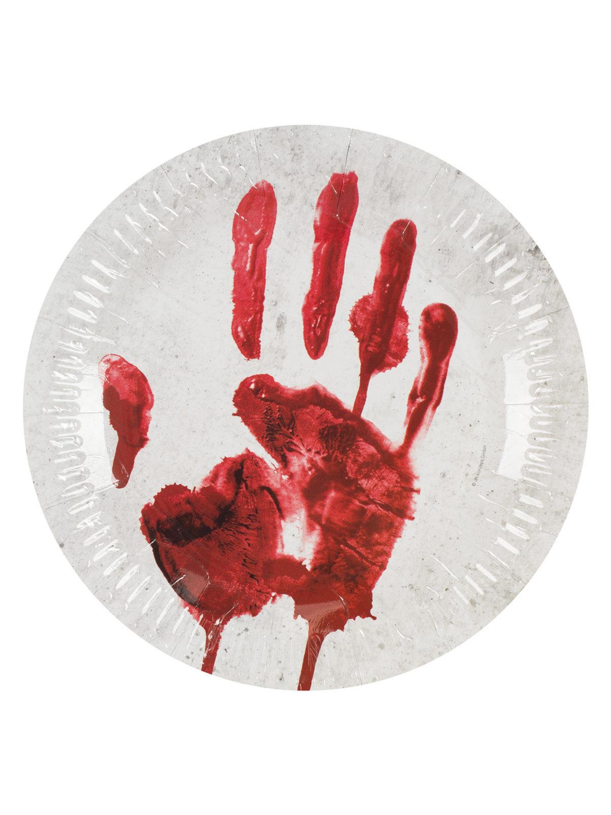 blutige hand pappteller halloween party deko 10 stuck weiss rot 23cm