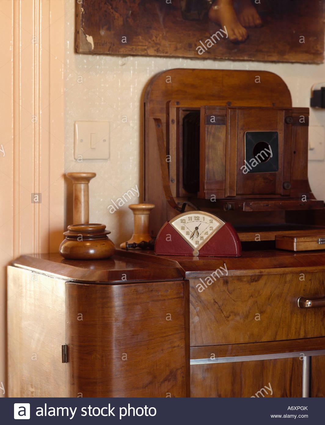 art deco clock on twenties walnut dressing table A6XPGK