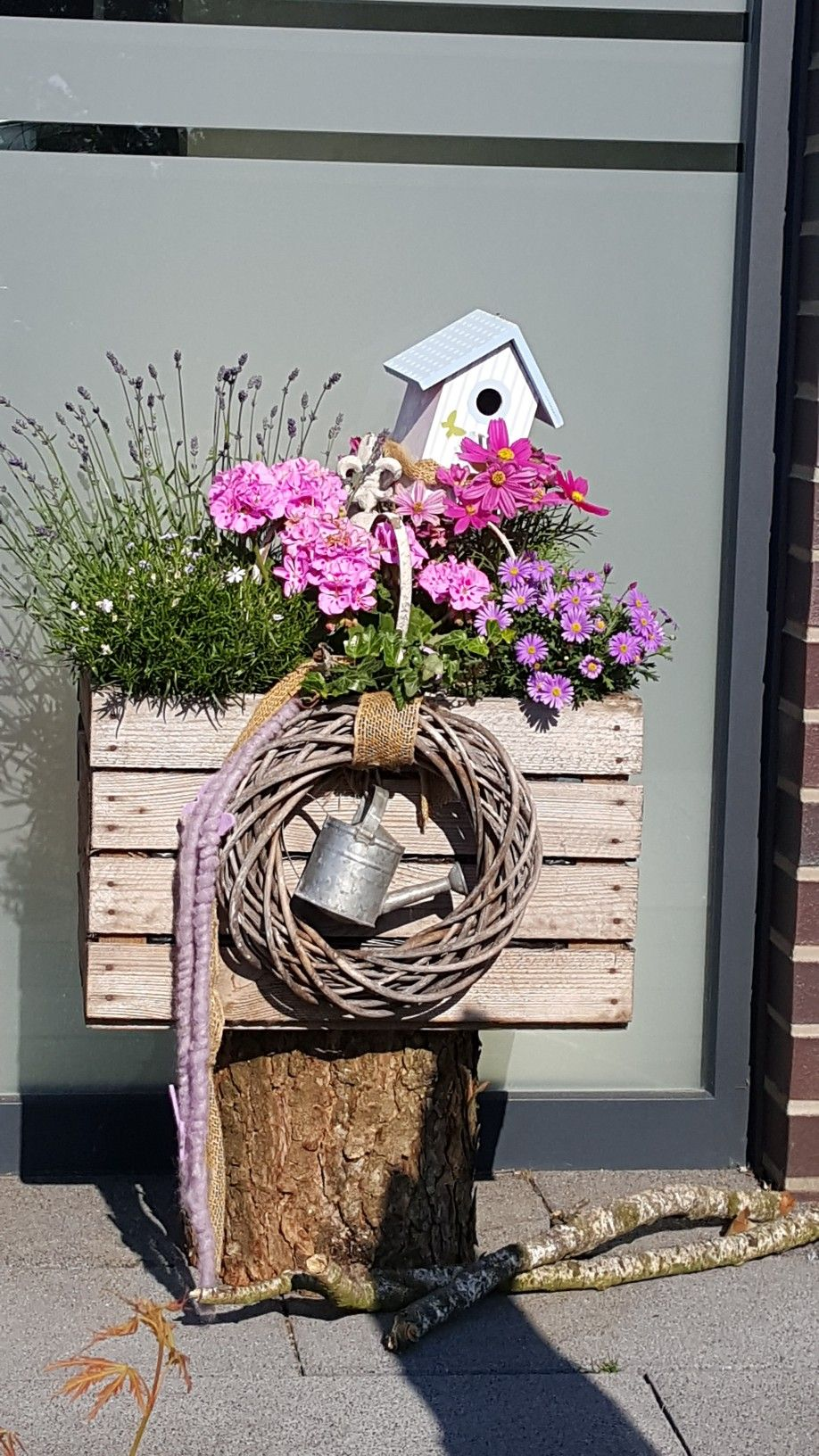Hauseingang Deko Frisch sommerdeko Blumendeko Haustür Eingang Deko