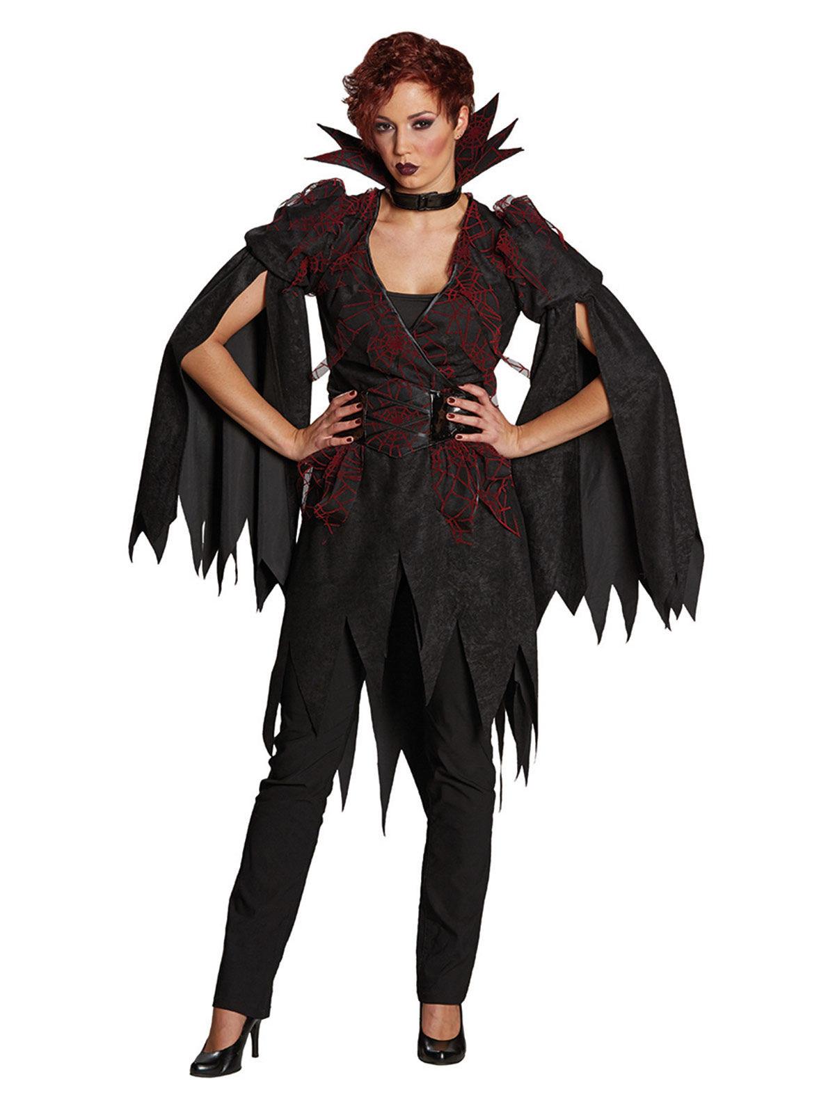 p elegantes hexen kostuem mit stehkragen fuer damen halloween schwarz