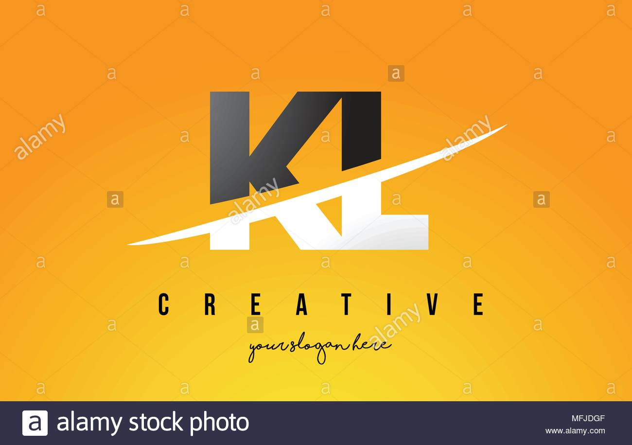 kl k l letter modern logo design with swoosh cutting the middle letters and yellow background MFJDGF