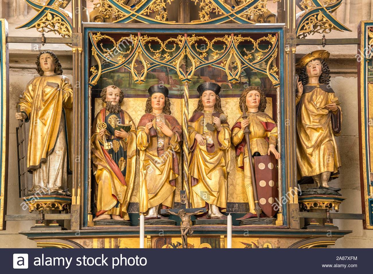 altar of the holy trinity in the catholic parish church st georg dinkelsbuhl middle franconia bavaria germany 2A87XFM