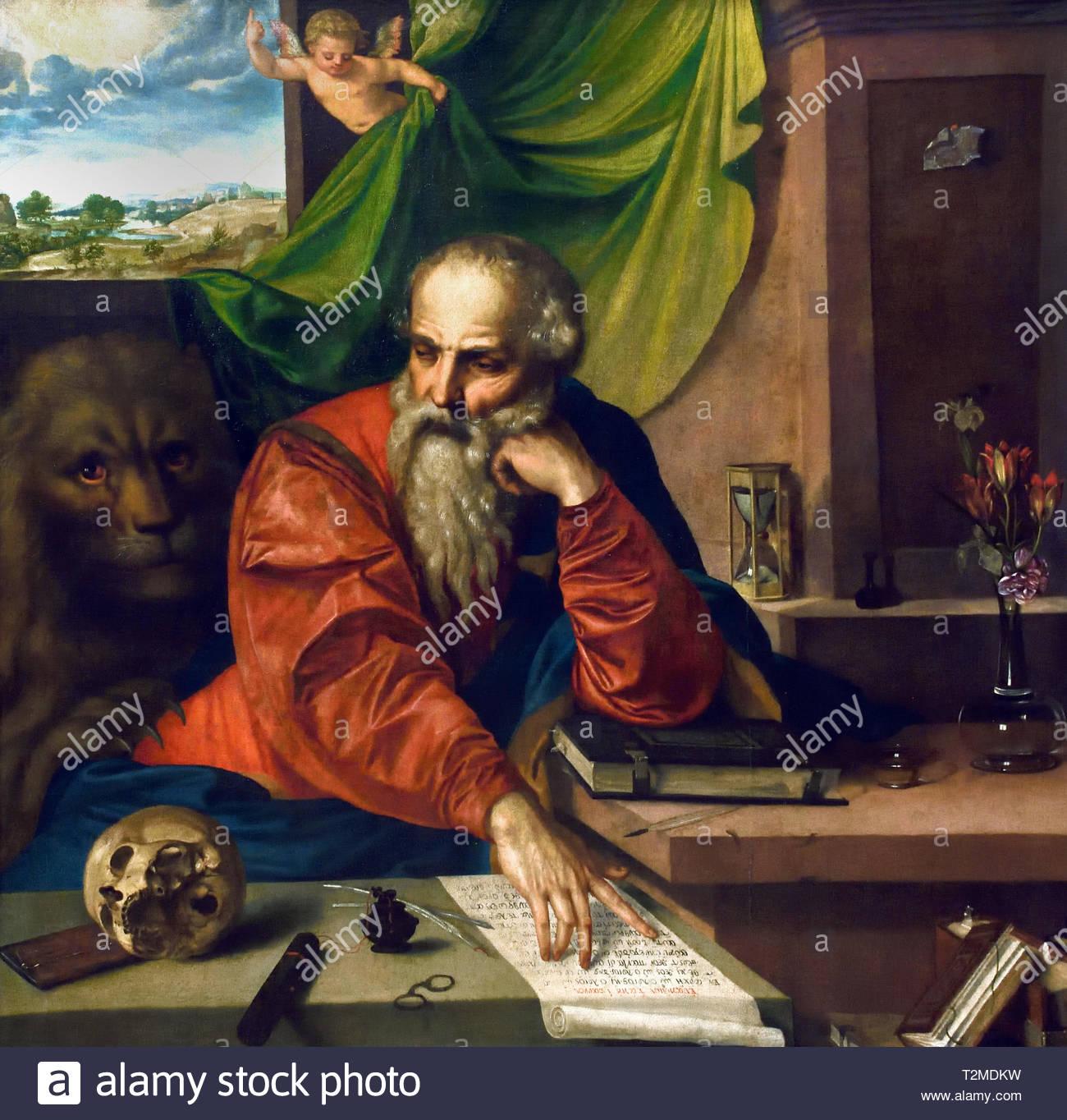 saint jerome meditating 1548 georg pencz 1500 1550 german germany T2MDKW