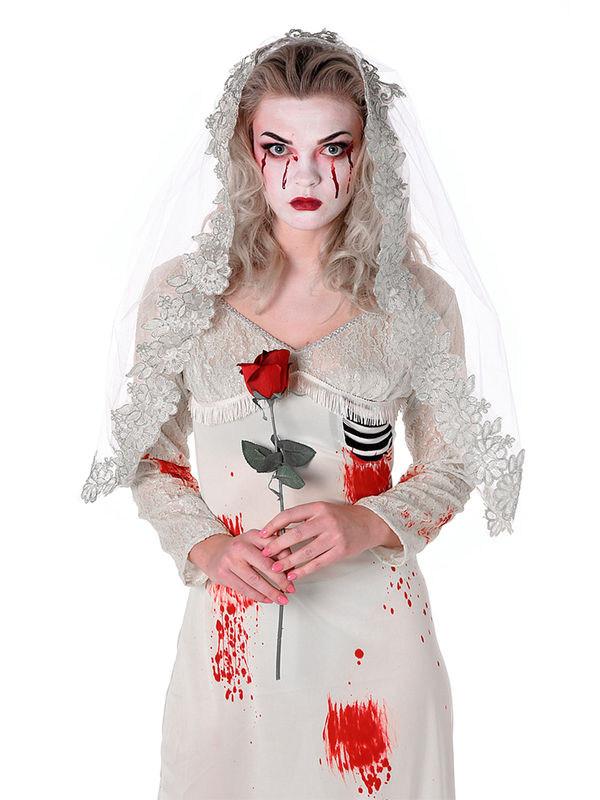 p zombie braut halloween damenkostuem geist weiss rot schwarz