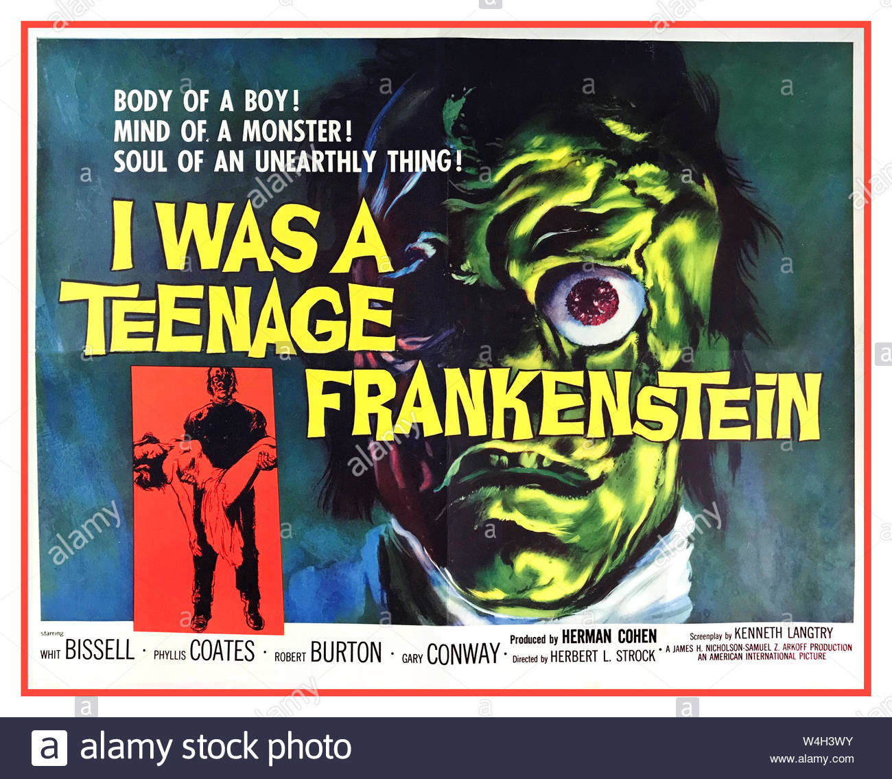 vintage 1950s horror film movie poster i was a teenage frankenstein 1957 original movie poster starring whit bissell phyllis coates robert burton and gary conway directed by herbert l strock and produced by herman cohen body of a boy mind of a monster soul of an unearthly thing W4H3WY