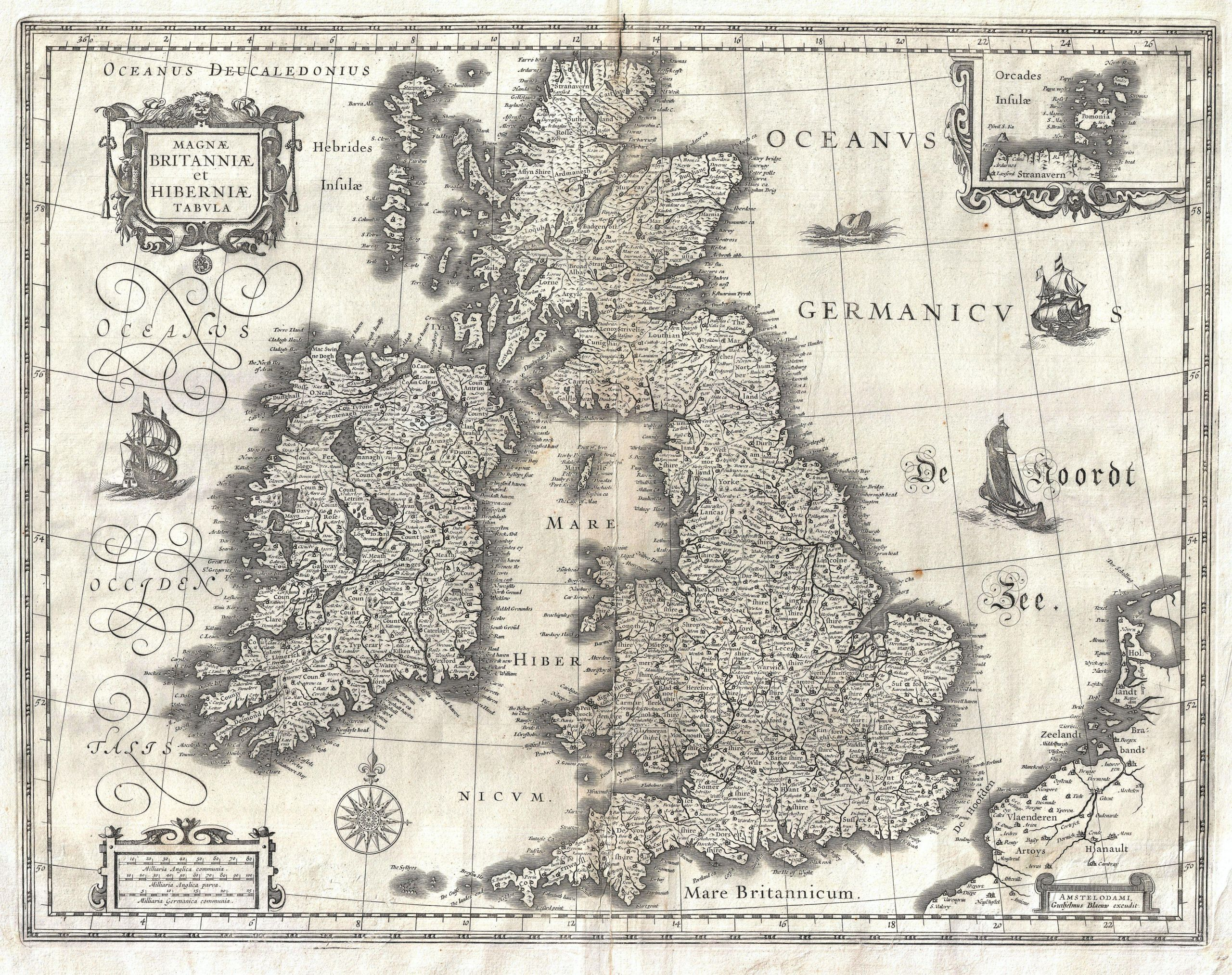 1631 Blaeu Map of the British Isles England Scotland Ireland Geographicus BritanniaeHiberniae blaeu 1631