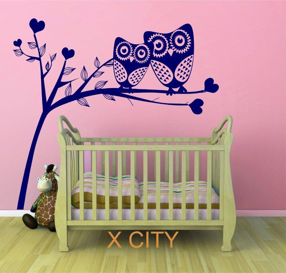 Owl arbre coeurs mignon paysage vinyle Sticker Mural Art autocollant pour enfants enfants chambre de bébé