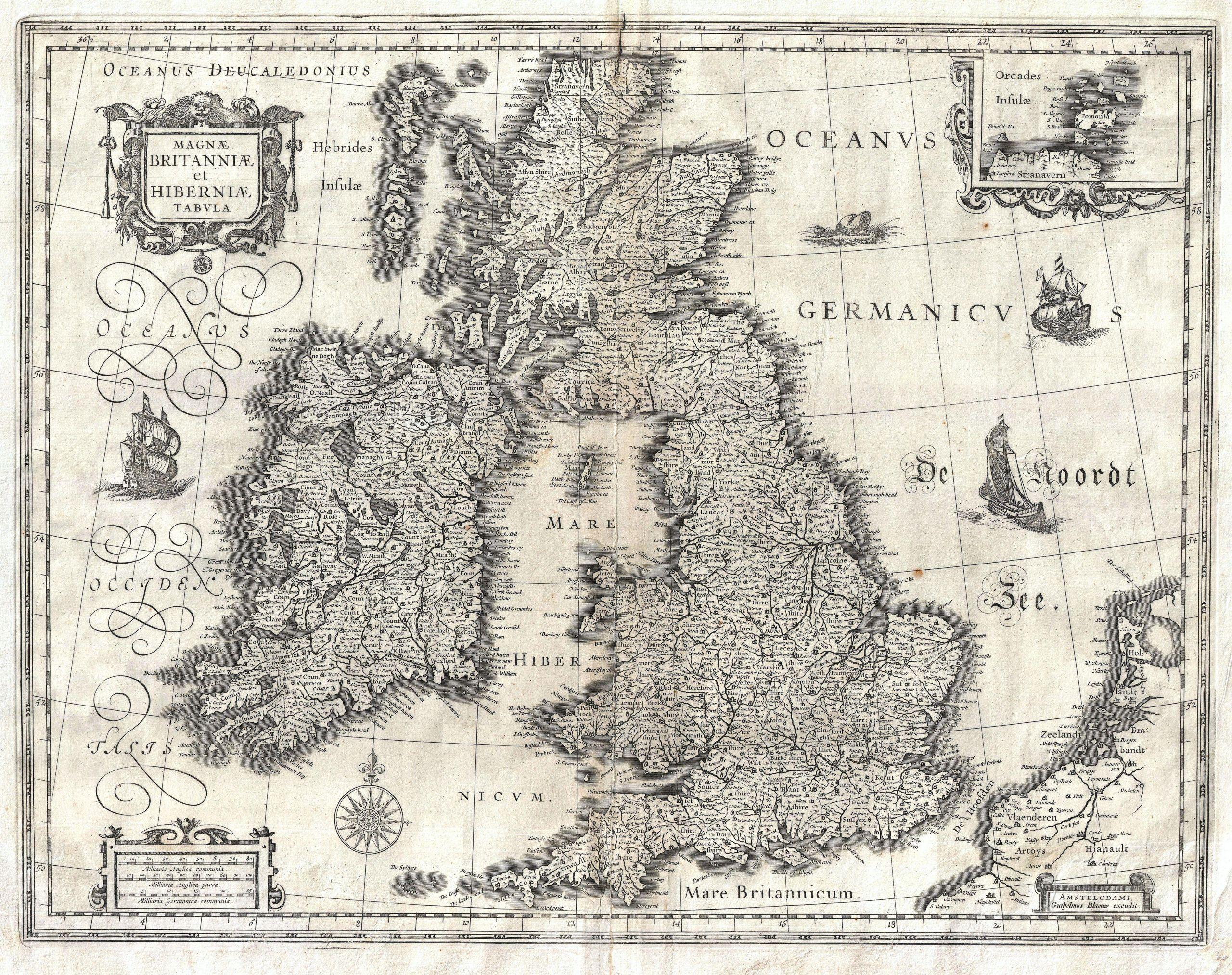 1631 Blaeu Map of the British Isles England Scotland Ireland Geographicus BritanniaeHiberniae blaeu 1631