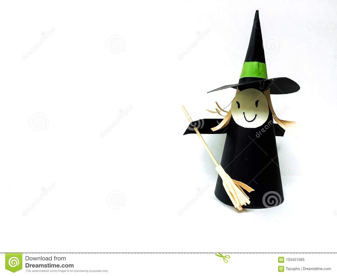 witch paper craft white background halloween diy halloween paper craft party ornament favor ideas witch paper craft