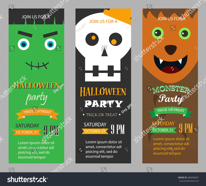 stock vector halloween party invitations vertical banners set vector illustration with skeleton frankenstein