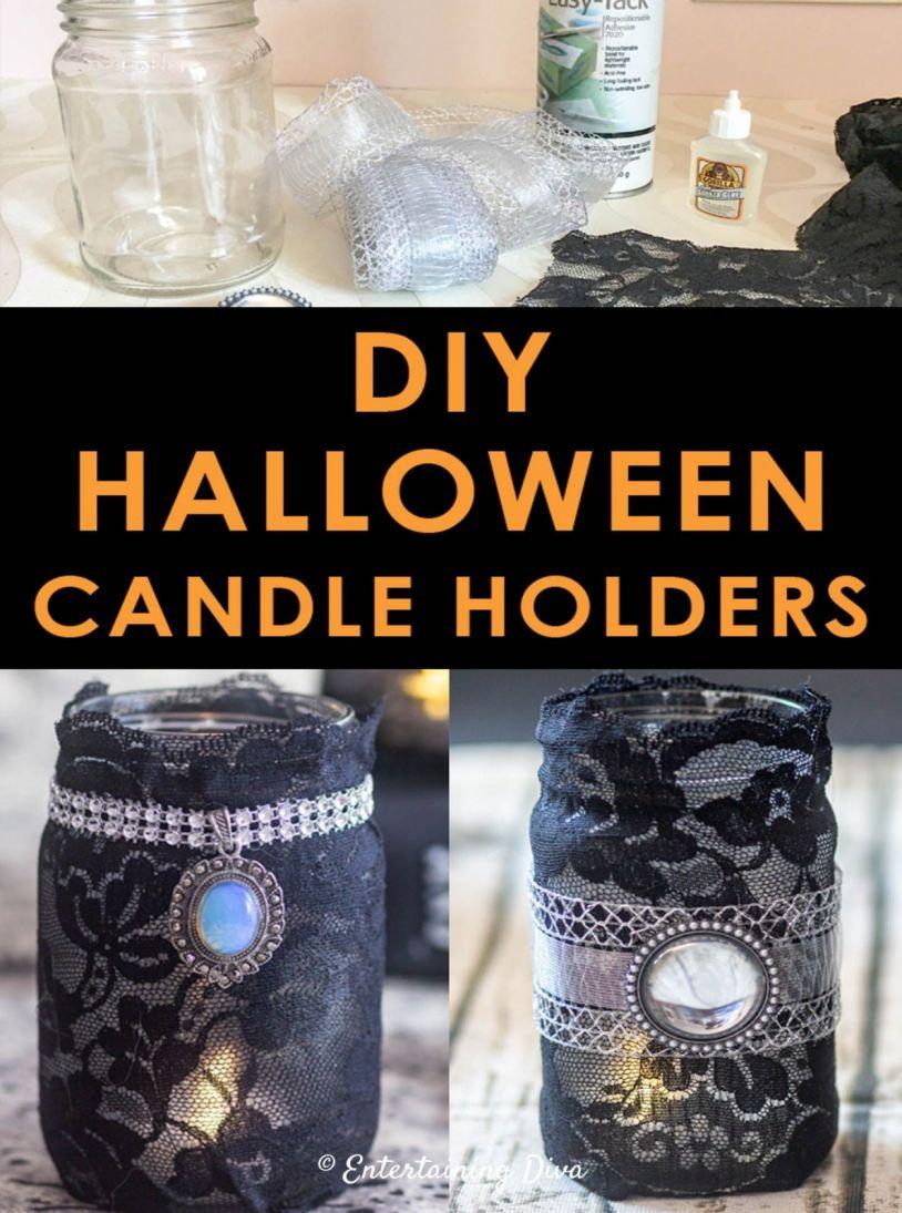 halloween candle holder elegant gothic lace diy halloween mason jar candle holders of halloween candle holder 814x1095