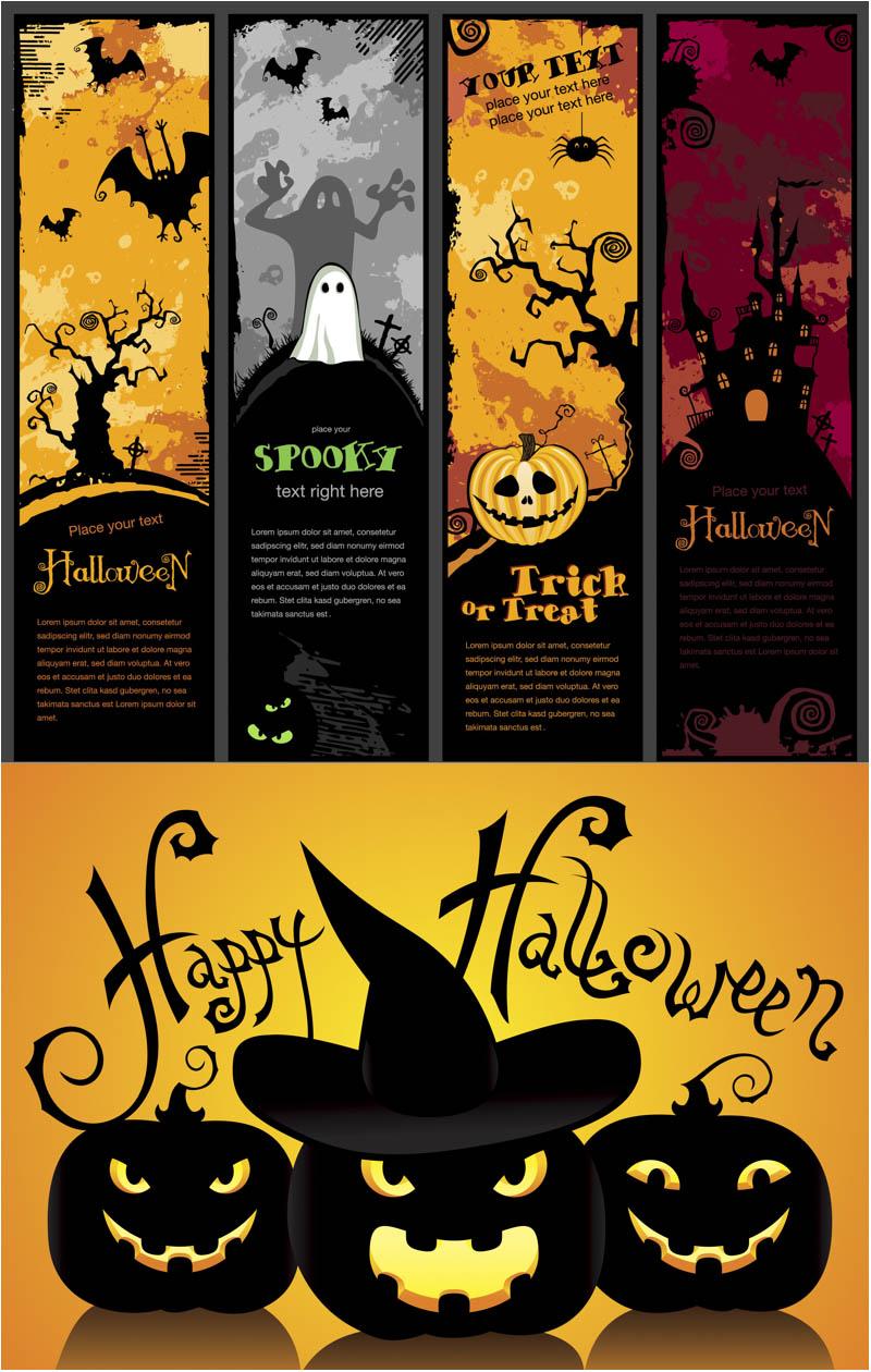 spooky halloween banners vector