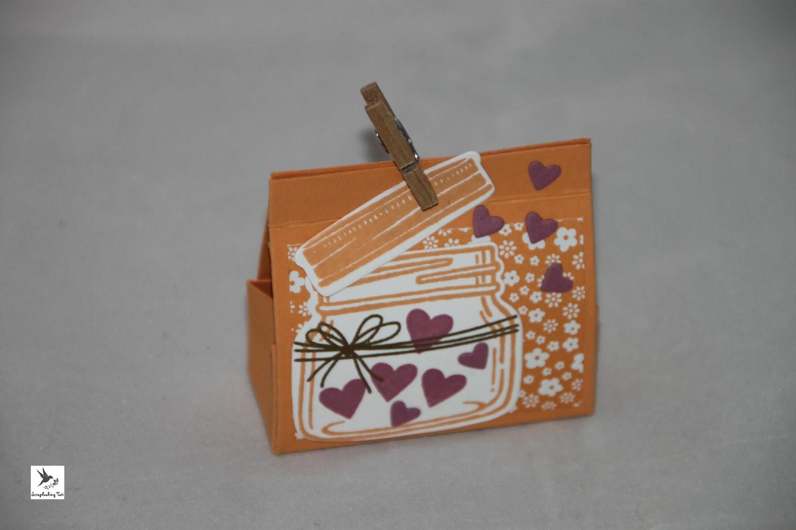 Stamping up Glasklare Grüße Ideen Verpackungen kleine Taschen pfirsich pur